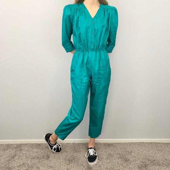 Vintage Carol Anderson Cropped Teal Jump Suit with