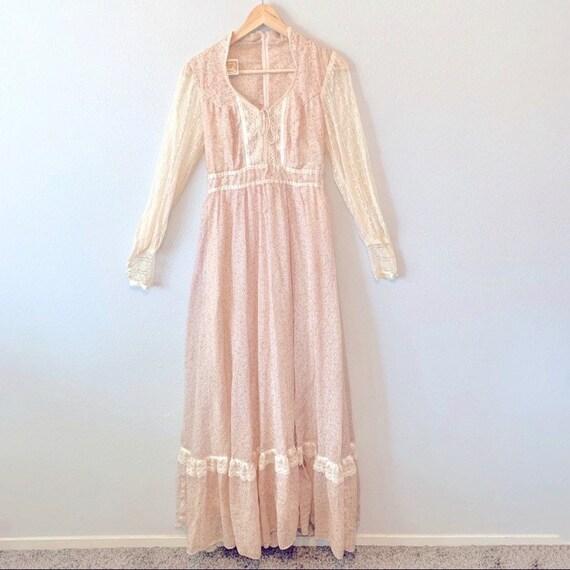 Gunne Sax Vintage 1970's Floral Tie Corset Dress - image 1