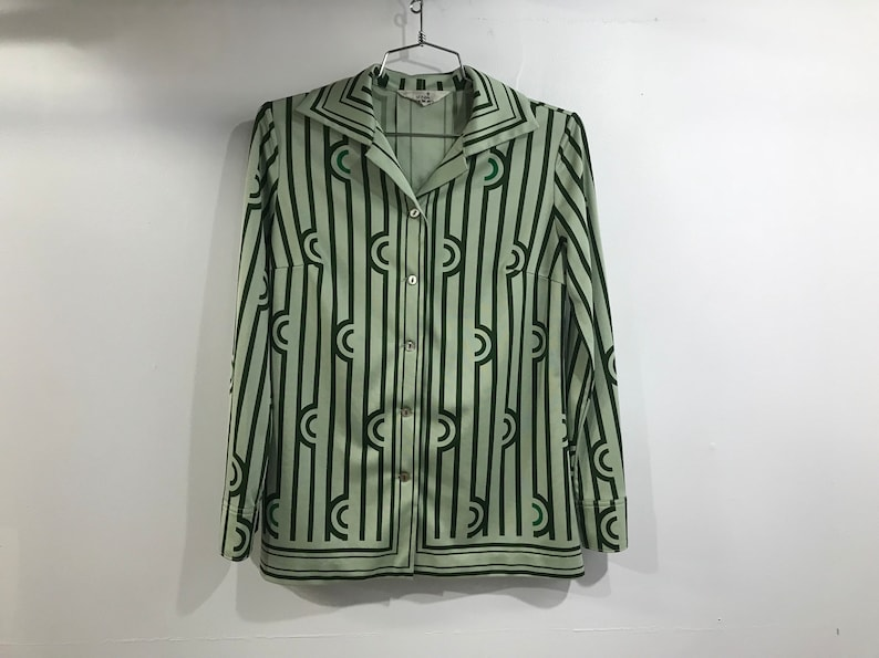 Geometric Green Tonal 70s Vintage Collared Blouse from Tokyo Japan