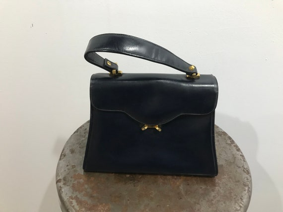 Vintage Tiny Charcoal Italian Leather Bloomingdale