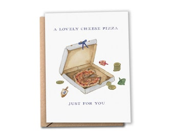 Pizza Hanukkah Card | A Lovely Cheese Pizza Just for You | Watercolor Hanukkah / Chanukah Card | Home Alone Movie | Greeting Card