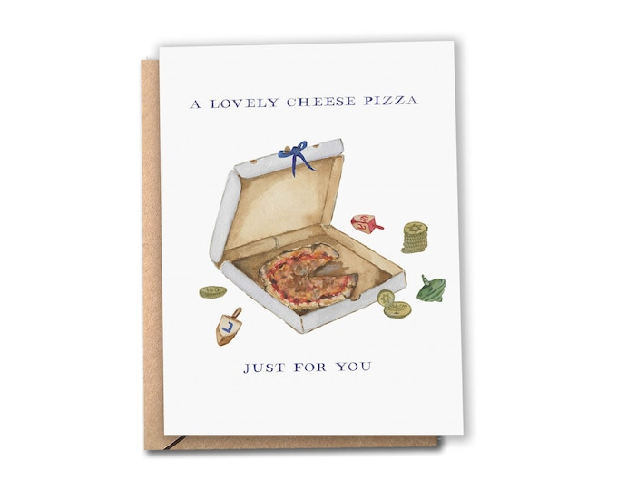 Featured listing image: Pizza Hanukkah Card   A Lovely Cheese Pizza Just for You   Watercolor Hanukkah / Chanukah Card   Home Alone Movie   Greeting Card