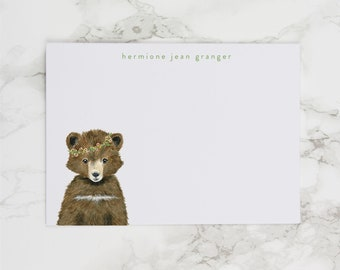Baby Bear with Flower Crown - Personalized Watercolor Stationery