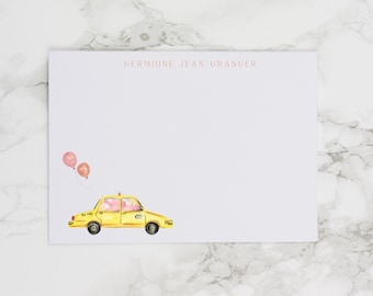 Taxi Cab with Pink and Orange Balloons - Personalized Watercolor Stationery