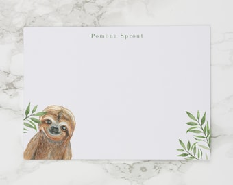 Baby Sloth - Personalized Watercolor Stationery