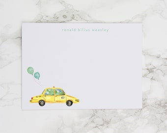 Taxi Cab with Blue and Green Balloons - Personalized Watercolor Stationery