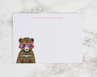 Baby Bear with Pink Heart Sunglasses - Personalized Watercolor Stationery