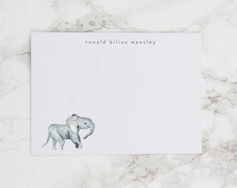 Baby Elephant - Personalized Watercolor Stationery