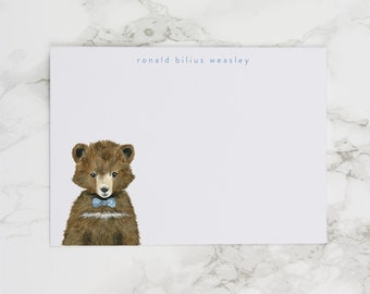 Baby Bear with Blue Bowtie - Personalized Watercolor Stationery