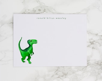 Green Dinosaur - Personalized Watercolor Stationery