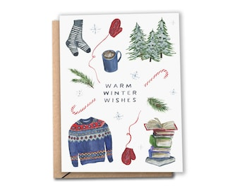 Warm Winter Wishes Card | Watercolor Holiday Card | Cozy Christmas | Hanukkah | Greeting Cards