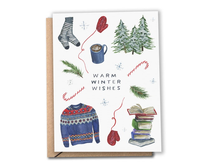 Featured listing image: Warm Winter Wishes Card   Watercolor Holiday Card   Cozy Christmas   Hanukkah   Greeting Cards
