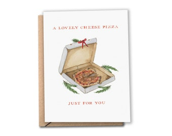 Pizza Holiday Card | A Lovely Cheese Pizza Just for You | Watercolor Christmas Card | Home Alone Movie | Greeting Card