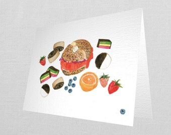 Watercolor Brunch Themed Greeting Card w/ envelope (4.25 x 5.5- A2 size folded cards)