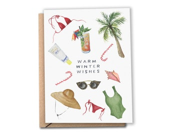 Warm Winter Wishes Holiday Card | Watercolor Card | Warm Weather | Tropical Christmas / Hanukkah | Greeting Cards (Set of 8 or 12)