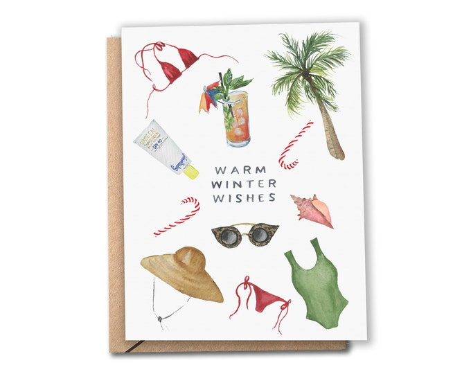 Featured listing image: Warm Winter Wishes Holiday Card   Watercolor Card   Warm Weather   Tropical Christmas / Hanukkah   Greeting Cards (Set of 8 or 12)