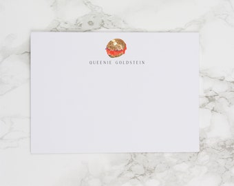 Loaded Everything Bagel with Lox - Personalized Watercolor Stationery