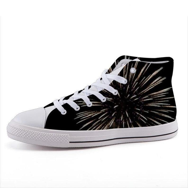 f1ad6dad317b Custom Printed High-Top Sneakers Black Fireworks