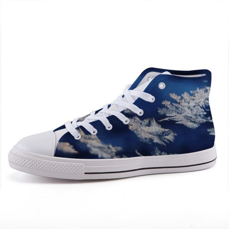 Ice Crystals Custom Printed High-Top Sneakers
