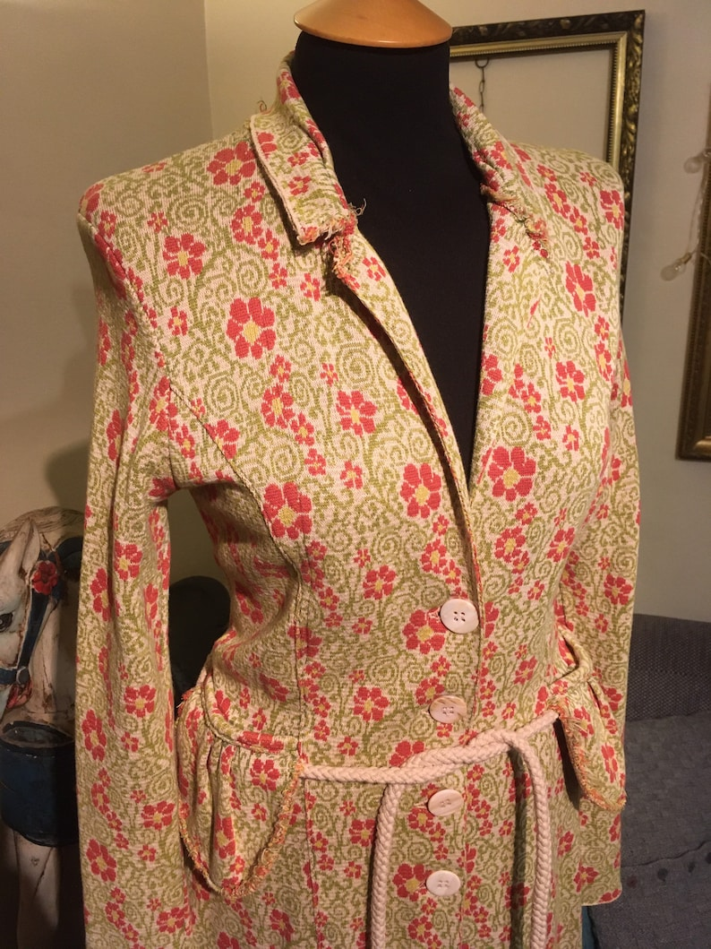 Unique Vintage Floral Botanical Coat with Rope Belt Size 8-10 Indie Boho Hippie Bohemian Grunge