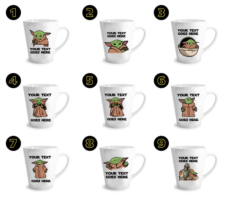Customized Baby Yoda Latte Mugs Personalized Baby Yoda Etsy