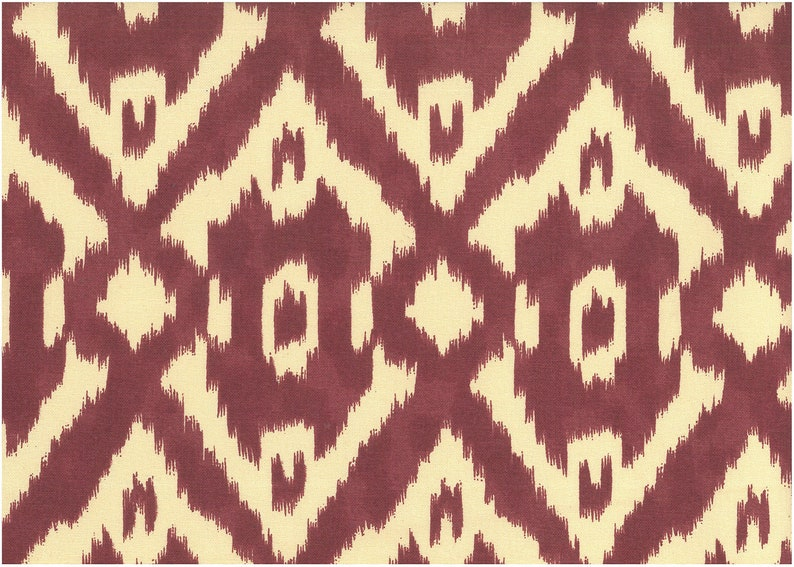 Upholstery Fabric by the YARD Curtain,Pillow,Slipcover Home Decor Valences New Caravan Ikat Print- 54Wide- Berry- 100/%Cotton