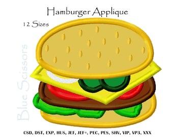 Hamburger Applique Embroidery Design, Applique Hamburger Embroidery Design, Machine Embroidery Design, Hamburger Embroidery Design
