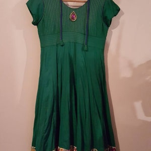 Embroidered w Jewel Authentic Indian Cotton Dress Bohemian Style Small Vintage Indian Dress 1960/'s Style Handmade Sz Festival Style