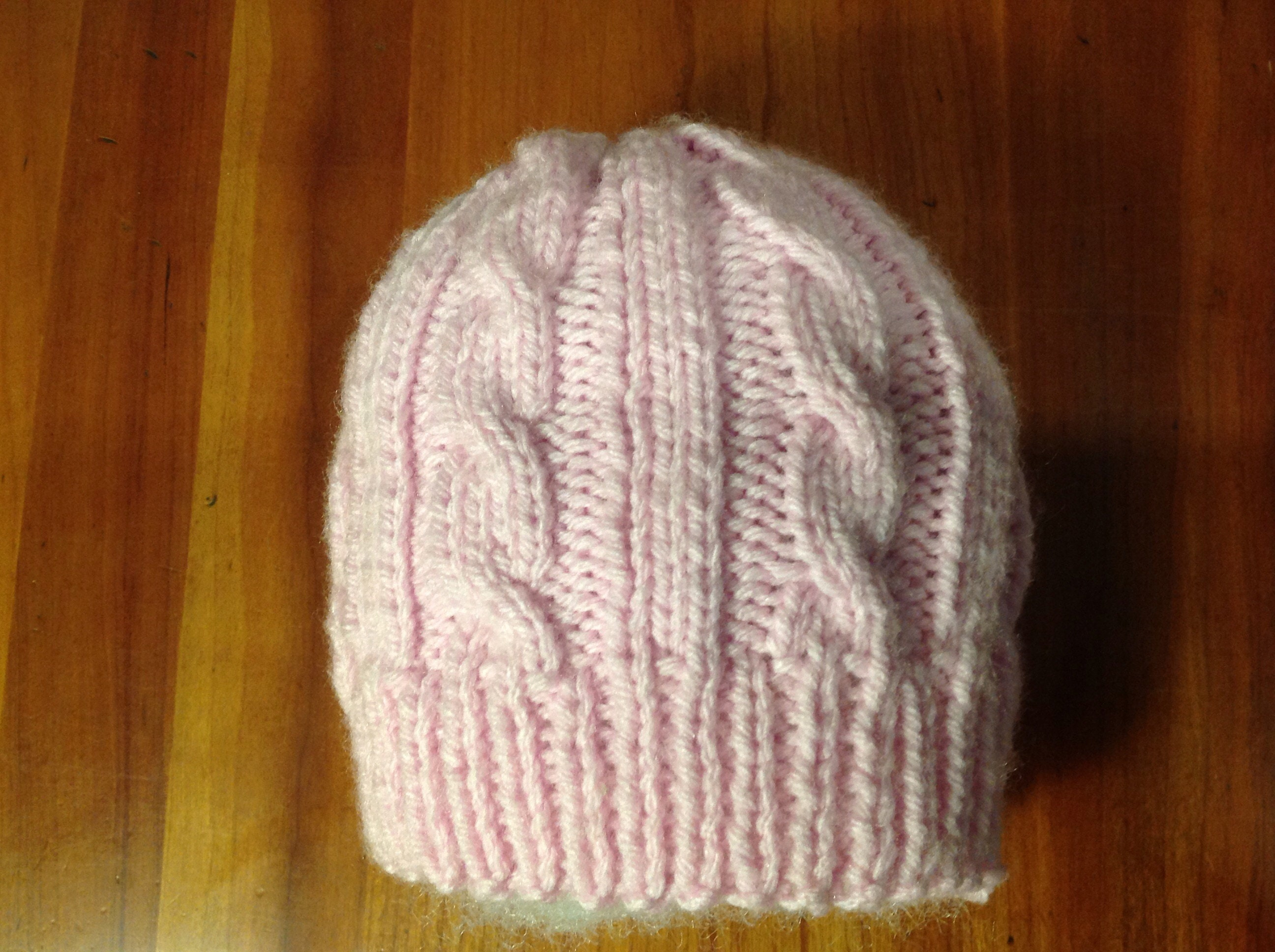 16d5926ad0a6 Pink Cabled Baby Hat Girl Hat