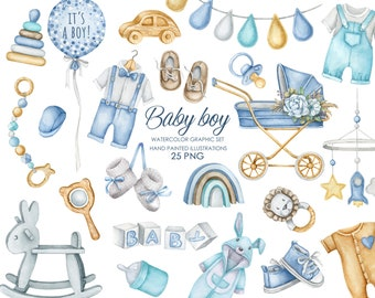 Watercolor boho nursery clipart. Baby boy clipart. Baby shower invitation clipart.
