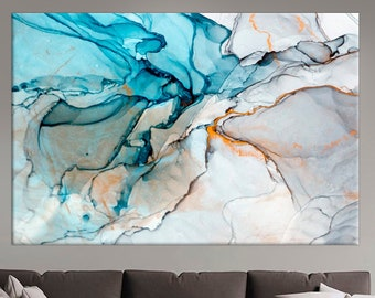 Abstract Marble framed art, Ink Paint wall art decor, Abstract Colorful, Painting extra large, canvas print ,Abstract Blue White wall art,