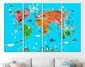 Animal World map Kids room Decor World map Nursery room World map poster World map wall art World map print World map for kids Fashion Decor