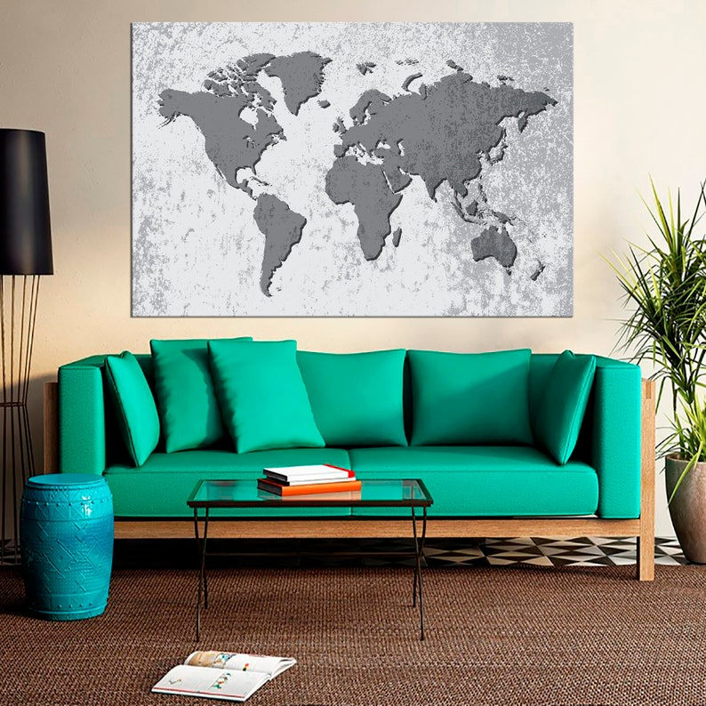 Vintage world map Print Art Travel Gift World Map Poster Triptych Colorful World Map Ready Framed Canvas Fashion Home Decor Picture Wall Art