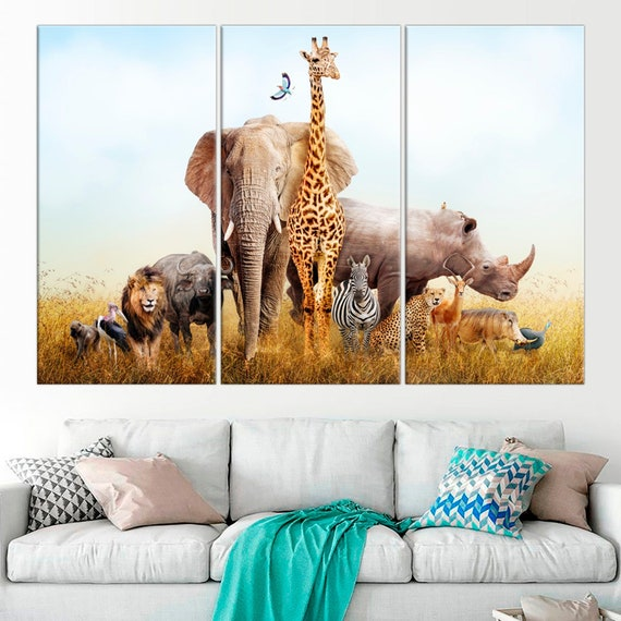 Group Of African Animals Large Canvas Print African Safari Etsy