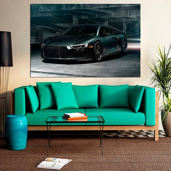 Framed Audi R8 V10 Black Super Car Poster 5 Piece Canvas Print Wall Art Decor