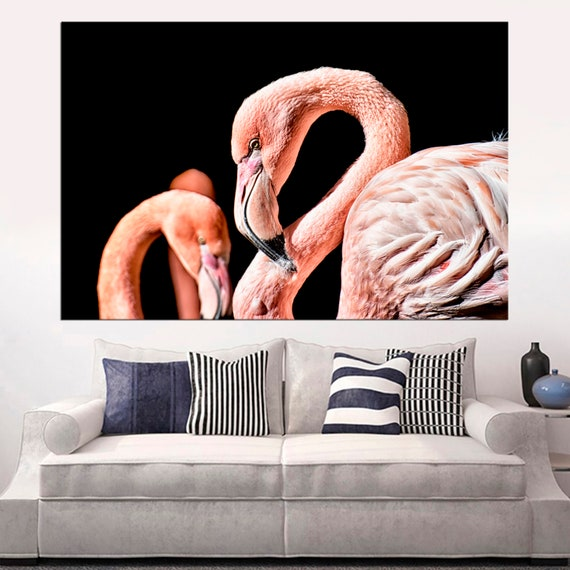 Long Flamingos Huge Canvas Art Print