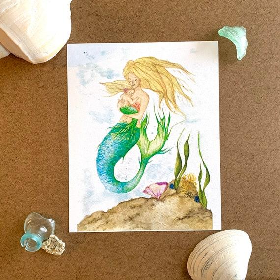 Mermaid Mom And Daughter Nursery Art Print Etsy