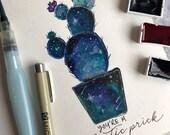 Galactic Prick Watercolor Art Print