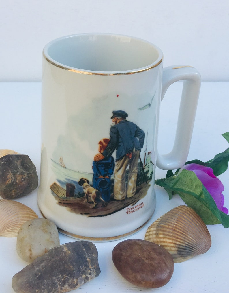 """a17331bb75b Norman Rockwell """"Looking Out To Sea"""" Collectible Mug, Cup - Vintage Mug -  Man and a Boy Looking Out To Sea - Decorative Vintage Mug"""