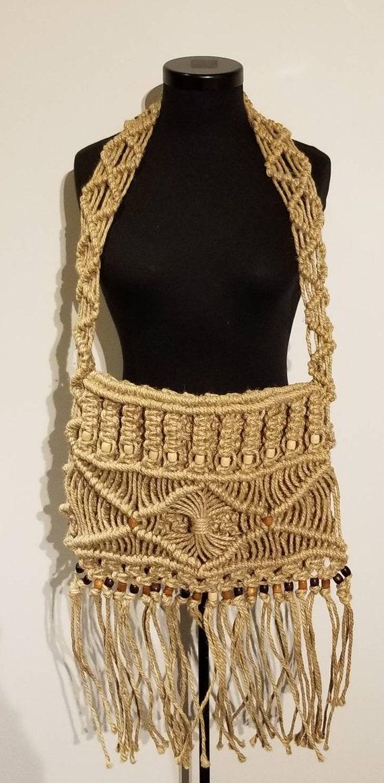 Vintage 1970's Cross Body Bag | Macrame | Jute | W