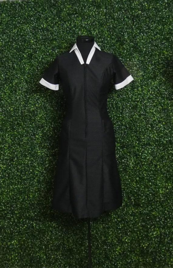 1960's Waitress Uniform   Black and White   Batsco