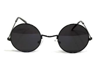2a55fc9d0e Retro Round Hippie Sunglasses John Lennon Style Black Frame Dark Black Lens