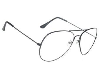 f4763f5616 Aviator Retro Clear Lens Glasses Harlem Vintage Classic Metal Frame  Eyeglasses