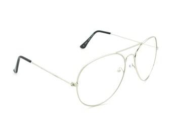 8f43675a63 Cool Retro Clear Lens Glasses Aviator Avery Vintage Classic Frame Eyeglasses