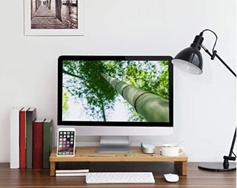 Monitor Stand Riser with Storage Organizer Office Computer Desk Laptop Cellphone TV Printer Stand Desktop Container Bamboo Wood