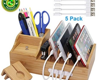 Charging Station, Multiple Devices Organizer for Phones,Tablet, Office Desktop Wooden Docking Stations (Include 5 x Charger Cable), Storage
