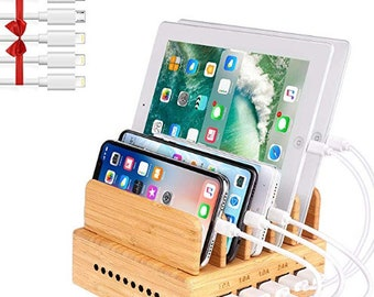 Bamboo Charging Station,Wood Charging Station,Multiple Devices,5 Ports USB Charger Docking Station for iPhone,iPad,Tablet,Android Cell Phone