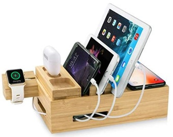 Bamboo Charging Station for Multiple Devices, USB Charging Station Dock, Fast Desk Wood Charging Docking Station for Universal Cell Phone