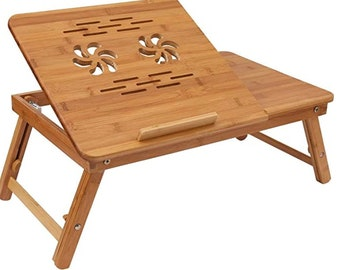 Bamboo Flower Lap Tray with Adjustable Legs | Foldable Breakfast Serving Bed Tray | Lap Desk with Tilting Top and Side Drawer-Laptop Stand