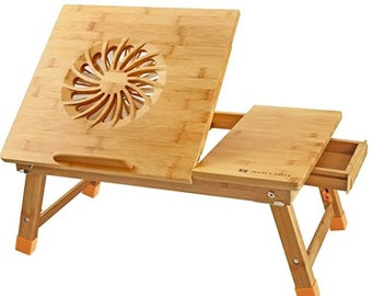 Laptop Desk Adjustable Laptop Desk Table 100% Bamboo with USB Fan Foldable Breakfast Serving Bed Tray w' Drawer Leg Cover